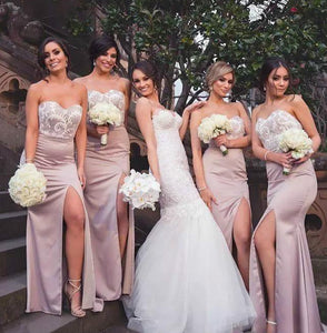 Elegant Sweetheart Sleeveless Lace Side Slit Satin Bridesmaid Dresses - EVERISA