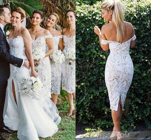 White Off Shoulder Backless Tea Length Lace Bridesmaid Dresses - EVERISA