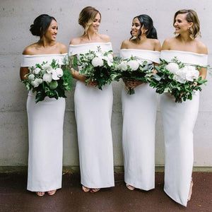Simple White Off Shoulder Sleeveless Satin Long Bridesmaid Dresses - EVERISA
