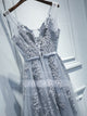 Grey V Neck Sleeveless Lace Applique Prom Dresses A Line Evening Dress - EVERISA