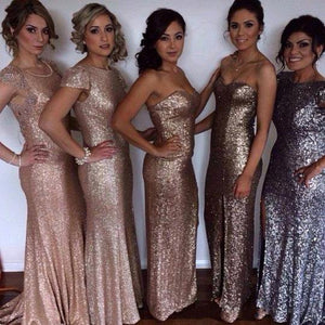 Unique Silver Sweetheart Floor-Length Sequin Prom Dresses Evening Dress