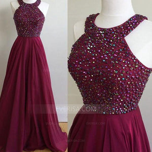 Burgundy Halter Sleeveless Beaded Prom Dresses A Line Evening Dresses