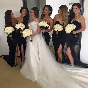 Sexy Black Sweetheart Sleeveless Side Slit Satin Bridesmaid Dresses - EVERISA