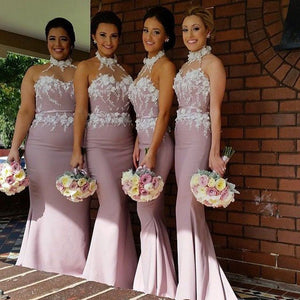 Elegant Pink Halter Sleeveless Satin Evening Dress Cheap Prom Dress With Lace