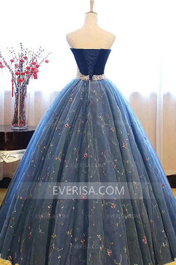 ab5c39f4a63 Blue Sweetheart Sleeveless Lace Prom Dresses A Line Quinceanera Dresses