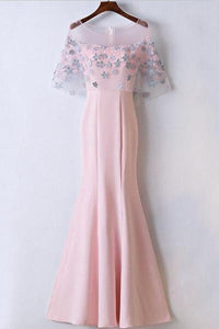 Pink Scoop Neck Lace Appliques Prom Dresses Mermaid Formal Dresses