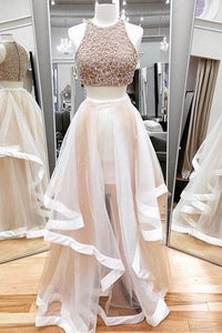 Scoop Neck Sleeveless Beaded Prom Dresses Two Pieces Evening Dresses