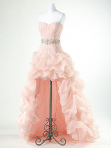 Blush Pink Sweetheart High Low Prom Dresses A Line Evening Dresses - EVERISA