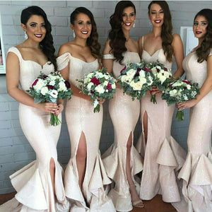 Different Styles Light Pink Side Split Sequin Prom Dress Cheap Bridesmaid Dress