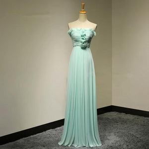 Tiffany Blue Strapless Beaded Prom Dresses Chiffon Evening Dresses