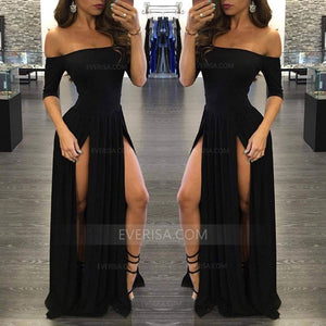 Sexy Off Shoulder Short Sleeveless Prom Dresses Slit Evening Dresses - EVERISA