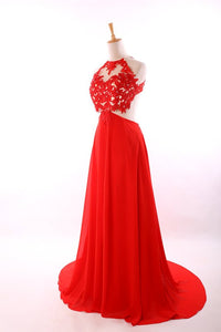 Sexy Red Sleeveless Backless Prom Dresses A Line Evening Dresses - EVERISA