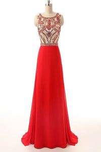 Red Scoop Neck Sleeveless Beaded Prom Dresses Long Evening Dresses