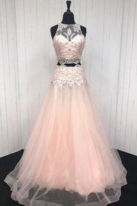Pink Two Pieces Sleeveless Beaded Prom Dresses Lace Evening Dresses