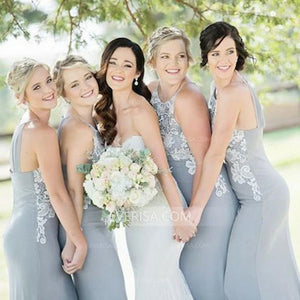 Grey Sleeveless Lace Appliques Long Satin Bridesmaid Dresses - EVERISA