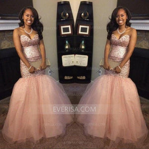 Rose Gold Sleeveless Sequin Prom Dresses Mermaid Evening Dresses