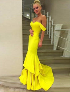 Yellow Sweetheart Off Shoulder Prom Dresses Mermaid Evening Dresses - EVERISA