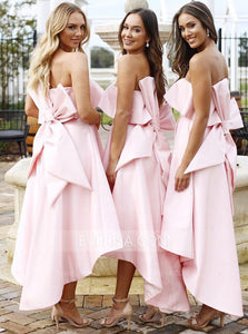 Strapless Sleeveless High Low Prom Dresses,A Line Bridesmaid Dresses