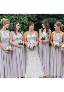 Charming Lilac Scoop Neck Floor-Length Chiffon Bridesmaides Dresses Cheap Evening Dresses