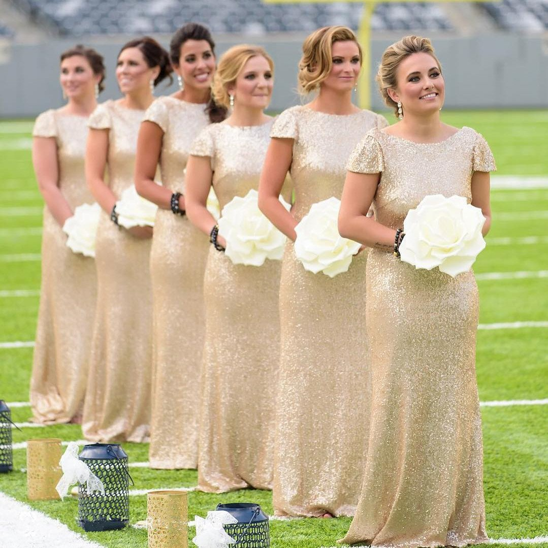 Floor-Length Sequin Bridesmaid Dresses