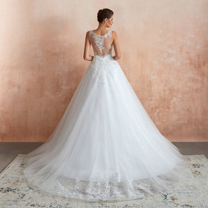 V Neck Sleeveless Lace Applique Wedding Dresses A Line Bridal Gown