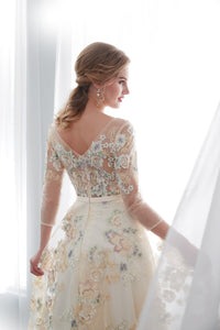 Scoop Neck Long Sleeve Flower embroidery A Line Prom Dresses