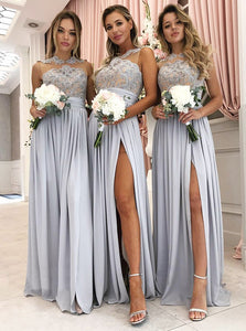 Grey Sleeveless Lace Applique Side Slit Chiffon Bridesmaid Dresses - EVERISA