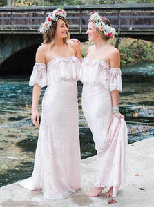 Pink Strapless Short Sleeves Lace Long Bridesmaid Dresses