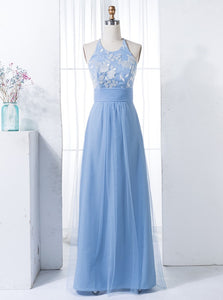 Blue Sleeveless Empire Cross Back Lace Applique Bridesmaid Dresses - EVERISA