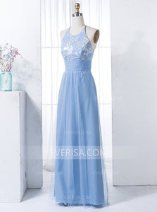 Blue Sleeveless Empire Cross Back Lace Applique Bridesmaid Dresses