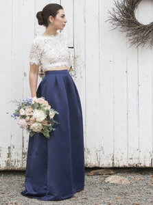 Navy Blue Two Pieces Lace Short Sleeves A Line Bridesmaid Dresses