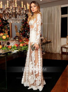 Sexy Long Sleeves A Line Prom Dresses Lace Appliques Evening Dresses - EVERISA