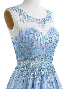 Blue Scoop Neck Sleeveless Beaded Prom Dresses A Line Evening Dresses
