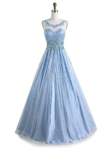 Blue Scoop Neck Sleeveless Beaded Prom Dresses A Line Evening Dresses - EVERISA