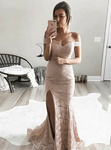 Blush Pink Off Shoulder Side Slit Prom Dresses,Mermaid Evening Dresses