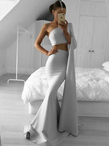 Grey Two Pieces One Shoulder Prom Dresses,Mermaid Evening Dresses - EVERISA