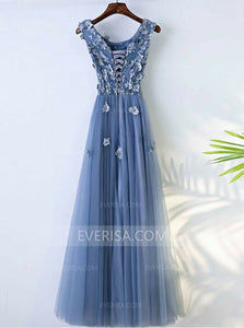 Scoop Neck Sleeveless Appliques Prom Dress,A Line Graduation Dresses