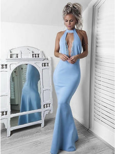 Blue Halter Sleeveless Mermaid Prom Dresses,Satin Evening Dresses
