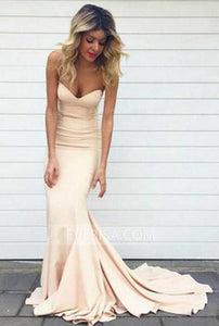 Elegant Blush Pink Sweetheart Mermaid Satin Evening Dress Prom Dress