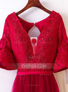 Burgundy V Neck Half Sleeves Lace Beaded A Line Prom Dresses
