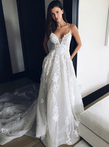 White V Neck Sleeveless Wedding Dresses, Lace Appliques Bridal Dresses