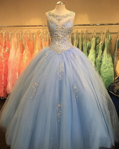 Blue Scoop Neck Sleeveless Lace Prom Dresses,A Line Quinceanera Dress