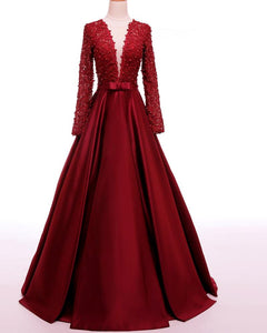 Burgundy Long Sleeves Lace Beaded Prom Dresses,A Line Formal Dresses - EVERISA