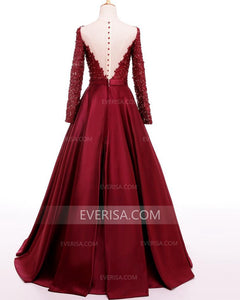 Burgundy Long Sleeves Lace Beaded Prom Dresses,A Line Formal Dresses