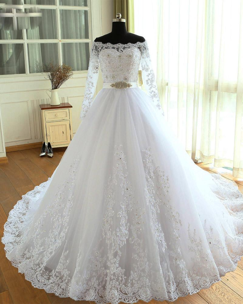Long Sleeves Off Shoulder Wedding Dresses, Lace Beaded Bridal Gown