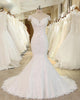 White Off Shoulder A Line Wedding Dresses, Mermaid Bridal Dresses - EVERISA