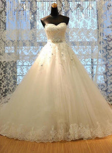 Ivory Sleeveless Lace Beaded Wedding Dresses,A Line Bridal Gown - EVERISA