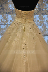 Ivory Sleeveless Lace Beaded Wedding Dresses,A Line Bridal Gown