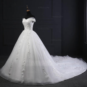 Off Shoulder Lace A Line Wedding Dresses,Court Train Bridal Dresses