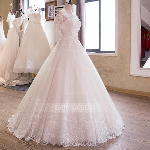 Short Sleeves Off Shoulder Wedding Dresses,Lace Beaded Bridal Dresses - EVERISA